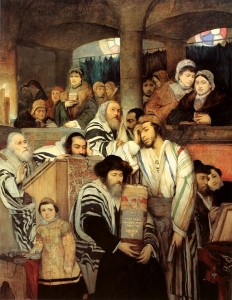 "Maurycy Gottlieb (1856-1879) ""Jews Praying in the Synagogue on Yom Kippur"""
