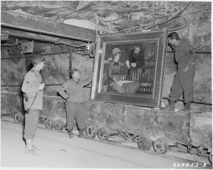 "Monuments Men Discovering Manet ""Wintergarden"" at Merkers (courtesy National Archives and Records Administration)"